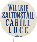 "Political:Pinback Buttons (1896-present), Wendell Willkie: Rare 2¼"" Massachusetts Coat-tail...."