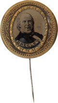 Political:Ferrotypes / Photo Badges (pre-1896), Horace Greeley: Rare and Attractive Large 1872 CampaignFerrotype....
