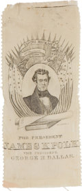 """Political:Ribbons & Badges, James K. Polk: Attractive Silk Campaign Ribbon for """"Young Hickory of Tennessee""""...."""