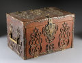 Furniture : French, A FRENCH BRONZE MOUNTED LEATHER COVERED BOX. 11-1/4 x 17-1/2 x18-1/2 inches (28.6 x 44.5 x 47.0 cm) closed. ...