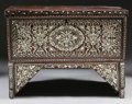 Furniture , A MOORISH MOTHER-OF-PEARL INLAID HARDWOOD CHEST. 36-7/8 x 49-1/2 x 21-1/2 inches (93.5 x 125.7 x 54.6 cm). ...
