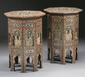 Furniture : Continental, A PAIR OF MOORISH MOTHER-OF-PEARL INLAID HARDWOOD TABLES. 32-1/2 x22 x 22 inches (82.6 x 55.9 x 55.9 cm) each. ... (Total: 2 Items)