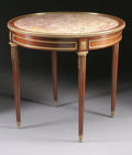 Furniture : French, A FRENCH NAPOLEON III GILT BRONZE MOUNTED GUERIDON WITH MARBLE TOP.Third Quarter 19th Century. 29-1/2 x 31-5/8 x 31-5/8 inc...