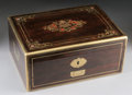 Furniture : French, A FRENCH INLAID COROMANDEL DRESSING SET. 19th Century. 5-3/4 x 9-5/8 x 13 inches (14.6 x 24.4 x 33.0 cm) closed. ...