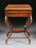 Furniture : French, A FRENCH ROSEWOOD MARQUETRY SEWING TABLE. Mid 19th Century. 29-5/8x 19-3/4 x 13-1/4 inches (75.2 x 50.2 x 33.7 cm). ...