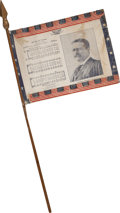 Political:Textile Display (1896-present), Theodore Roosevelt: Unusual Cloth Flag on the Original Stick....