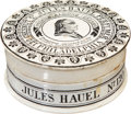 Advertising:Display Jars, [Benjamin Franklin] Glazed China Jules Hauel Almond Cream Jar. ...