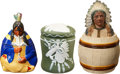 Antiques:Decorative Americana, [American Indian] Three Indian Theme Tobacco Jars.... (Total: 3Items)