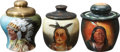 Antiques:Decorative Americana, [American Indian] Three Indian Theme Tobacco Jars with Hand ColoredImages of Indians.... (Total: 3 Items)