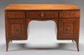 Furniture : Continental, AN ITALIAN NEOCLASSICAL INLAID WALNUT KNEEHOLE DESK. Last Quarter18th Century. 31-3/4 x 53-1/2 x 25 inches (80.6 x 135.9 x ...