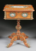 Furniture : French, A FRENCH NAPOLEON III GILT BRONZE MOUNTED KINGWOOD TABLE À OUVRAGE. Second Half 19th Century. 28 x 21-1/4 x 16-1/2 inches (7...
