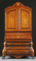 Furniture : Continental, A DUTCH BAROQUE STYLE MARQUETRY INLAID SECRETARY CABINET. 86-1/2 x50 x 26 inches (219.7 x 127 x 66.0 cm). ...
