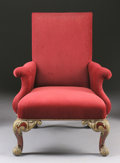 Furniture : Continental, A PORTUGUESE PARCEL GILT WOOD ARMCHAIR. 19th Century. 45-1/2 x 33 x32 inches (115.6 x 83.8 x 81.3 cm). ...