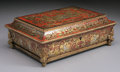 Furniture : French, A FRENCH NAPOLEON III BOULLE INLAID WORK BOX. Third Quarter 19th Century. 5-3/8 x 14-3/4 x 10-7/8 inches (13.5 x 37.5 x 27.5...