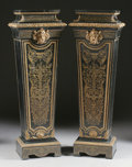 Furniture : French, A PAIR OF FRENCH NAPOLEON III GILT BRONZE MOUNTED EBONIZED WOODPEDESTALS. Third Quarter 19th Century. 52 x 18 x 13 inches (...(Total: 2 Items)