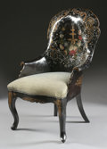 Furniture : English, AN ENGLISH VICTORIAN PAPIER-MÂCHÉ ARMCHAIR. Mid 19th Century. 42-1/2 x 27 x 25 inches (108.0 x 68.6 x 63.5 cm). ...