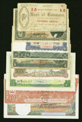 World Currency: , Potpourri of Seven World Notes Plus Two U.S. Obsoletes... (Total: 9 notes)