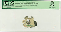 """""""D. B. Cooper"""" 1971 Ransom Money. Serial #L51079019B. Series 1963A $20 Federal Reserve Note"""