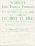 Political:Posters & Broadsides (1896-present), Woman's Suffrage: Great English Broadside, a Demand for Lloyd George to Allow them to Serve....