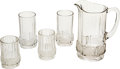 Antiques:Decorative Americana, U.S. Coin Glass: Large Pitcher, Two Tall Glasses, and Two ShortGlasses, Central Glass Co. of Wheeling, West Virginia, Circa 1...(Total: 5 Items)