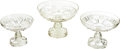 Antiques:Decorative Americana, U.S. Coin Glass: Three Graduated Open Compotes, Central Glass Co.of Wheeling, West Virginia, Circa 1892. ... (Total: 3 Items)