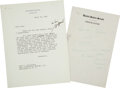 Autographs:U.S. Presidents, John F. Kennedy Annotated Typed Letter Unsigned and Autograph Notes. ... (Total: 2 Items)