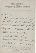 "Autographs:U.S. Presidents, Franklin D. Roosevelt Autograph Letter Signed ""FDR"" asAssistant Secretary of the Navy. ..."