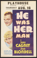 """Movie Posters:Crime, He Was Her Man (Warner Brothers, 1934). Window Card (14"""" X 22"""").Crime.. ..."""