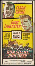"Movie Posters:War, Run Silent, Run Deep (United Artists, 1958). Three Sheet (41"" X81""). War.. ..."