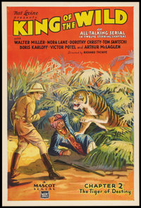 """King of the Wild (Mascot, 1931). One Sheet (27"""" X 41"""") Chapter 2 -- """"The Tiger of Destiny."""" Serial..."""
