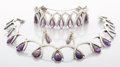A MEXICAN SILVER AND AMETHYST QUARTZ NECKLACE, BRACELET AND EARRINGS SET Antonio Pineda, Taxco, Mexico, circa 1955
