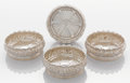 Silver Holloware, American:Coasters, A SET OF FOUR AMERICAN SILVER WINE COASTERS. Tiffany & Co., New York, New York, circa 1875. Marks: TIFFANY & CO., STERLING... (Total: 4 Items)