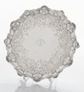 Silver Holloware, British:Holloware, A GEORGE III SILVER SALVER. Ebenezer Coker, London, England,1764-1765. Marks: (lion passant), (leopard's head crowned),E...