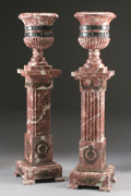 Decorative Arts, Continental:Other , A PAIR OF BRONZE MOUNTED RED MARBLE JARDINIÈRES ON PEDESTALS. 67inches (170.2 cm) high, each. ... (Total: 2 Items)