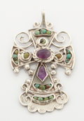Estate Jewelry:Lockets - Pendants , A MEXICAN SILVER, TURQUOISE AND AMETHYST QUARTZ PENDANT. MatildePoulat, Taxco, Mexico, circa 1955. Marks: matl, mexico, 9...