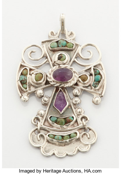 A mexican silver turquoise and amethyst quartz pendant lot estate jewelrylockets pendants a mexican silver turquoise and amethyst quartz pendant mozeypictures Choice Image