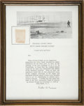 Transportation:Aviation, Kitty Hawk Wright Flyer: Piece of Original Fabric on a BlankPresentation Certificate....