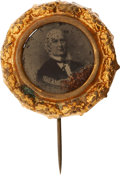 Political:Ferrotypes / Photo Badges (pre-1896), Horace Greeley: Rare 1872 Ferrotype Pin in Pristine Condition. ...