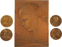 Charles Lindbergh: Lot of Four Medals and Copper Plaque Commemorating Lindbergh's New York to Paris Flight