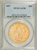 Liberty Double Eagles: , 1857 $20 AU50 PCGS. PCGS Population (37/140). NGC Census: (39/292).Mintage: 439,375. Numismedia Wsl. Price for problem fre...