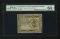 Colonial Notes:Continental Congress Issues, Continental Currency February 17, 1776 $3 Counterfeit Detector PMGChoice Uncirculated 64 EPQ....
