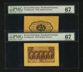 Fractional Currency:First Issue, Fr. 1282SP 25c First Issue Wide Margin Pair PMG Superb Gem Unc 67EPQ.... (Total: 2 notes)