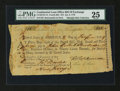 Colonial Notes:Continental Congress Issues, Continental Loan Office Fourth Bill of Exchange $18. US 95/NJ-7A.PMG Very Fine 25....