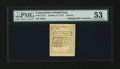 Colonial Notes:Connecticut, Connecticut October 11, 1777 5d Slash Cancel Printed on ScarceWhite Paper PMG About Uncirculated 53....