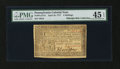 Colonial Notes:Pennsylvania, Pennsylvania April 10, 1777 4s PMG Choice Extremely Fine 45 EPQ....