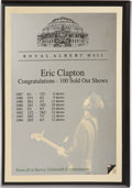 Music Memorabilia:Awards, Eric Clapton Royal Albert Hall Award....