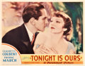 "Movie Posters:Romance, Tonight is Ours (Paramount, 1933). Lobby Card (11"" X 14"").. ..."