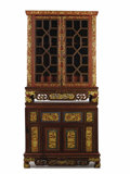 Asian:Chinese, A Chinese Carved and Painted Cabinet on Cabinet. . Unknown maker,China. 20th century. Wood, pigment. Unmarked . 55 inches h...