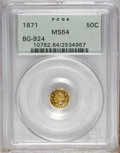California Fractional Gold: , 1871 50C Liberty Octagonal 50 Cents, BG-924, R.3, MS64 PCGS. PCGSPopulation (16/1). NGC Census: (4/2). (#10782)...