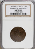 Colonials: , 1760 1/2P Hibernia-Voce Populi Halfpenny, P Before Face AU58 NGC.NGC Census: (0/0). PCGS Population (0/1). (#271)...